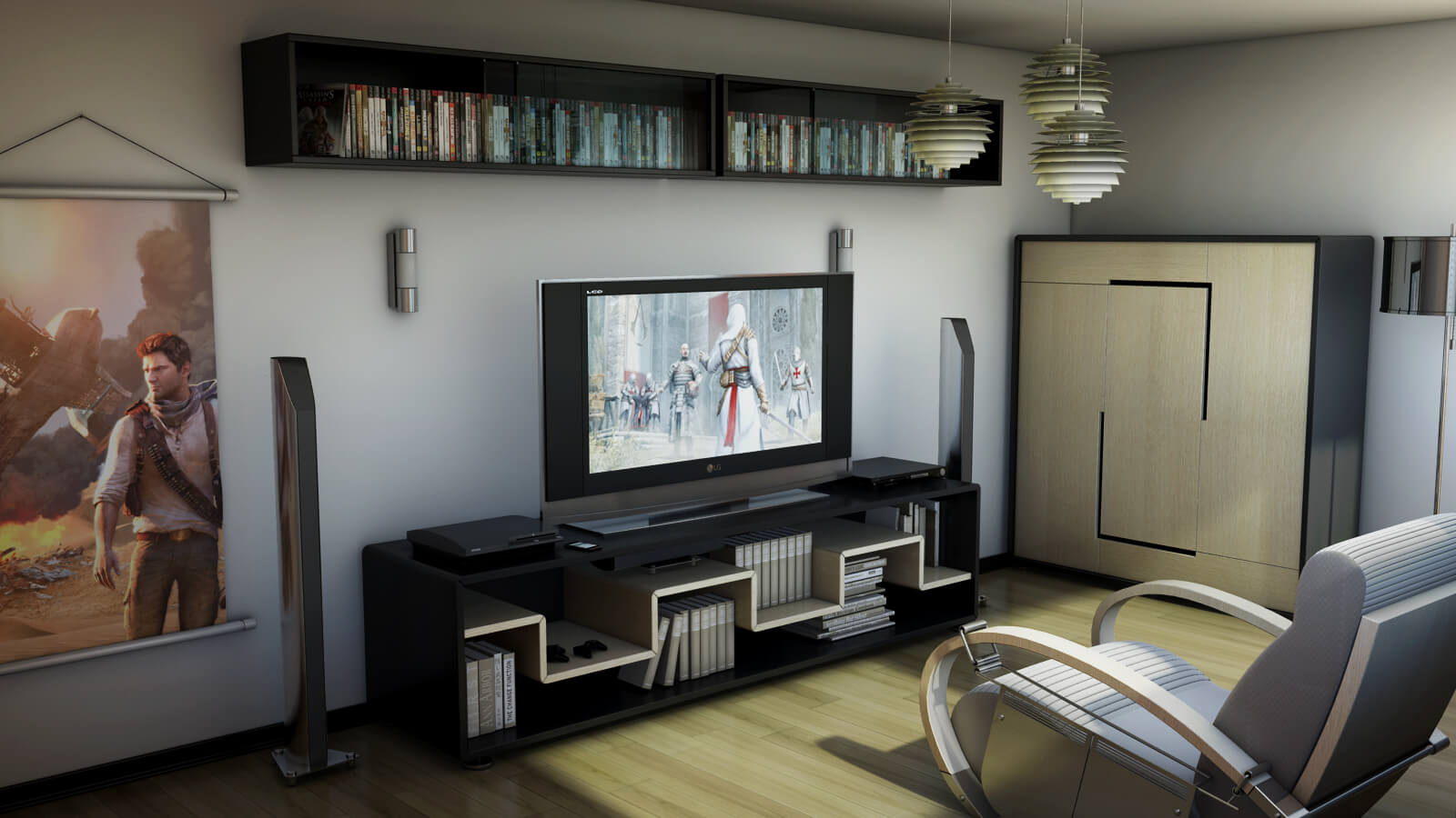 50 best setup of video game room ideas a gamer 39 s guide. Black Bedroom Furniture Sets. Home Design Ideas