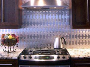 Kitchen stainless steel backsplash