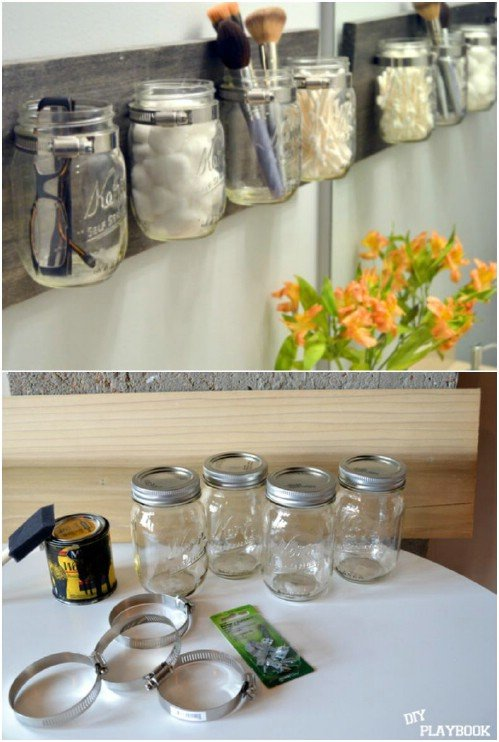 DIY Hanging Jar Makeup Organizer Storage Containers
