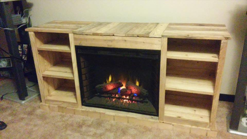 21 diy tv stand ideas for your weekend home project diy pallet fireplace with tv stand solutioingenieria Gallery