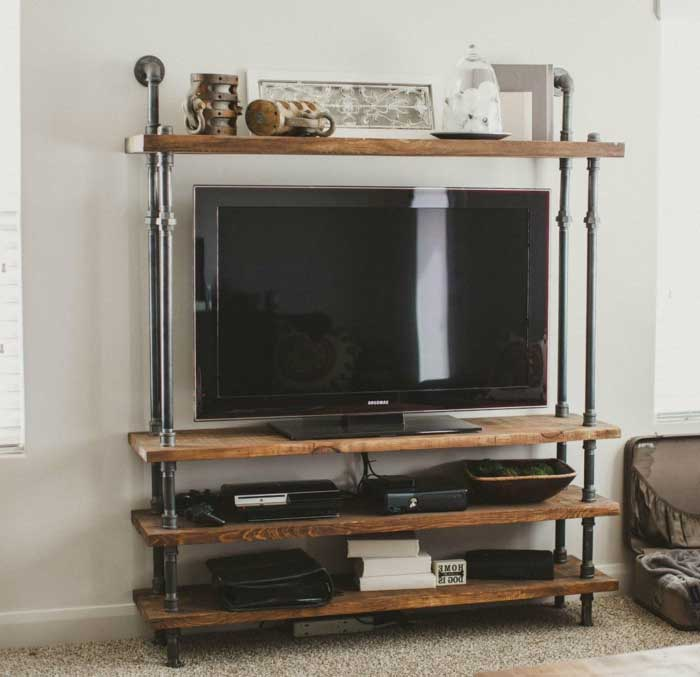 DIY Pipeline and Wood TV Stand