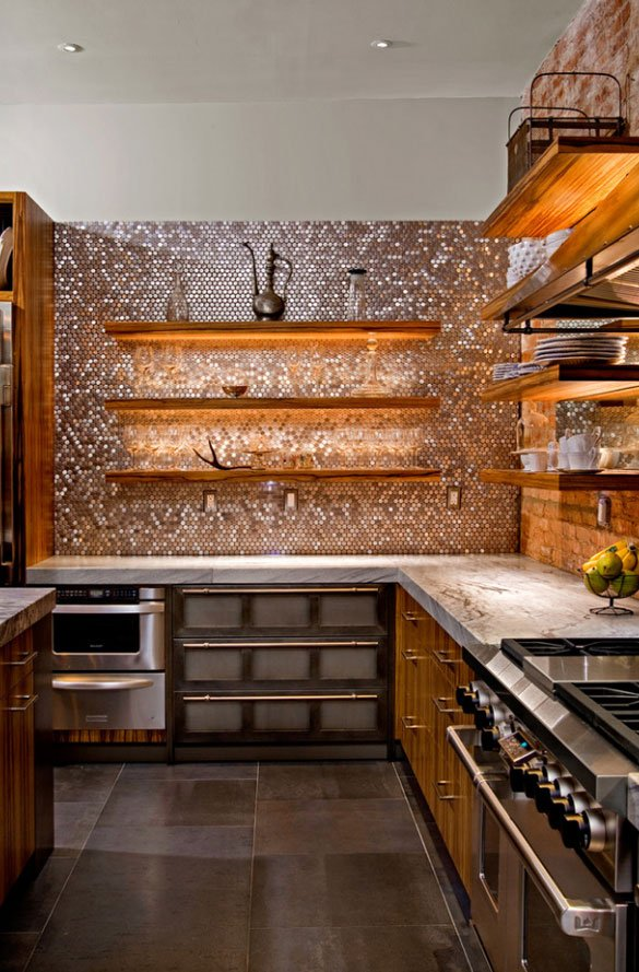 Mosaic patterned stainless steel kitchen backsplash