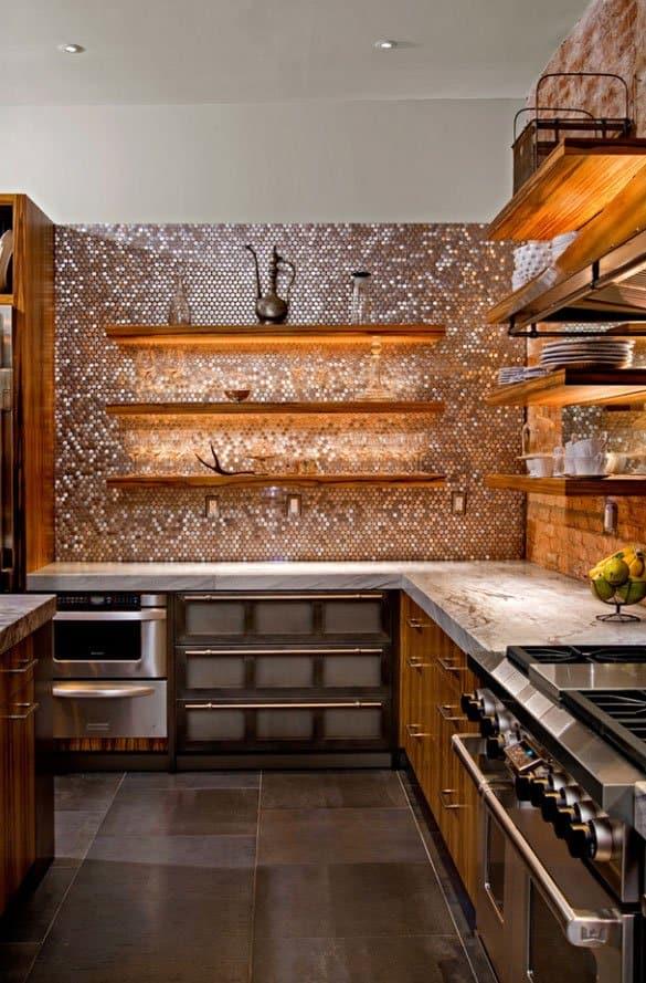 Mosaic Patterned Stainless Steel Kitchen Backsplash