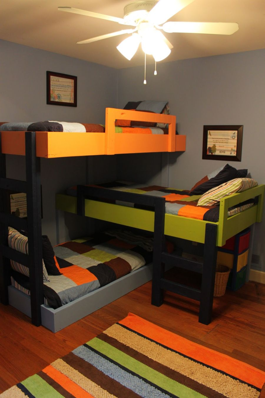 colorful triple bunk beds ideas