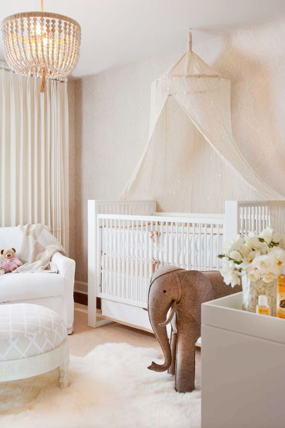 Baby Girl Room Ideas With Elephant Doll. Tidy And Brilliant, A White Nursery  Supplies A Fresh And Versatile Canvas That Grows With Your Kid.