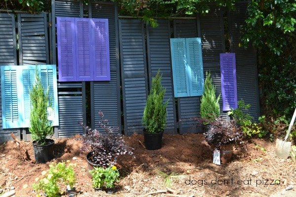 DIY outdoor privacy screen from old windows