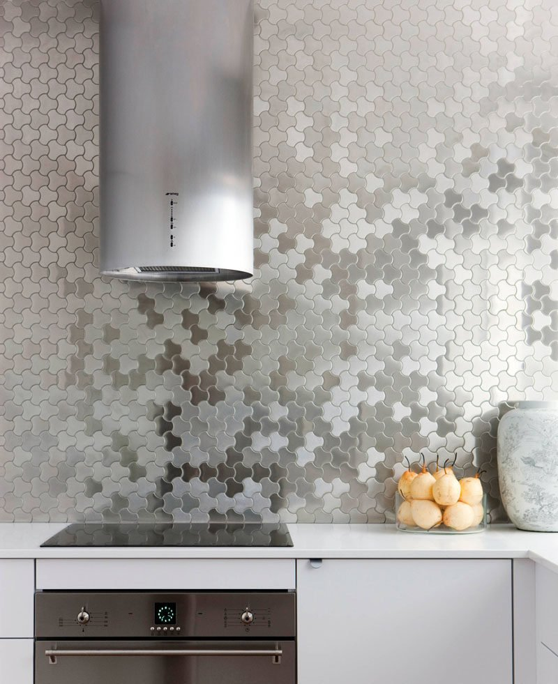 Patterned Stainless Steel Backsplash