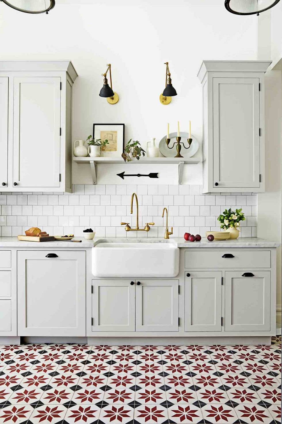 patterned tiles white kitchen