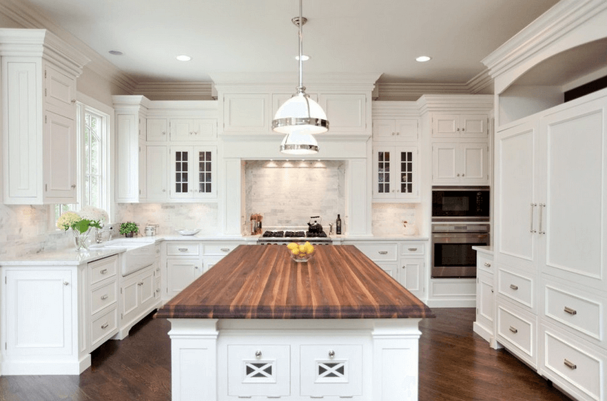 terrific wood countertop white kitchen island | 30 Elegant White Kitchen Design Ideas for Modern Home