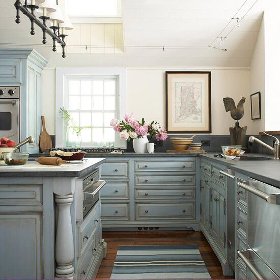 where to buy blue kitchen cabinets