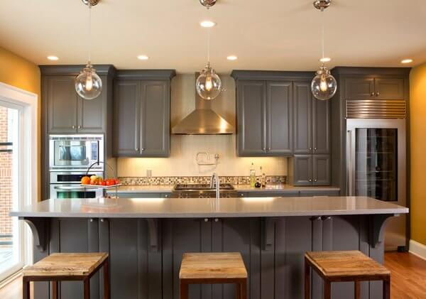 Grey Kitchen Cabinet With Yellow Walls