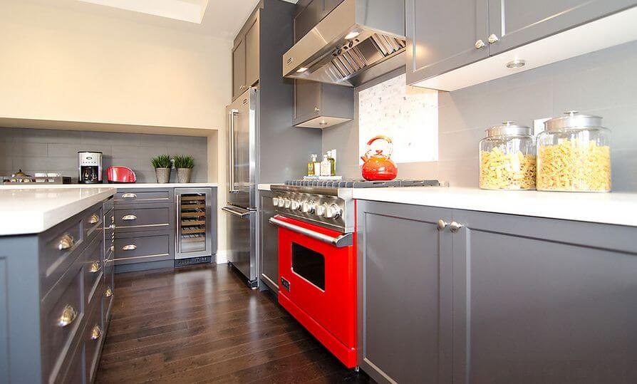 Grey And Red Kitchen Cabinet