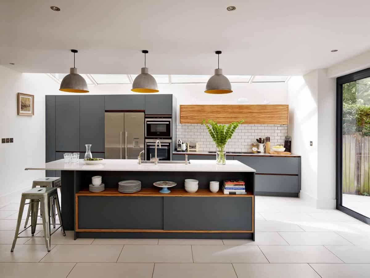 Grey kitchen island with sink