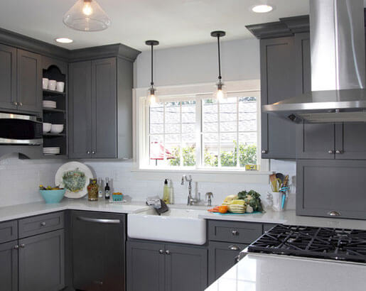 Creative Grey Kitchen Cabinet Ideas For Your Kitchen - Dark grey cabinet paint