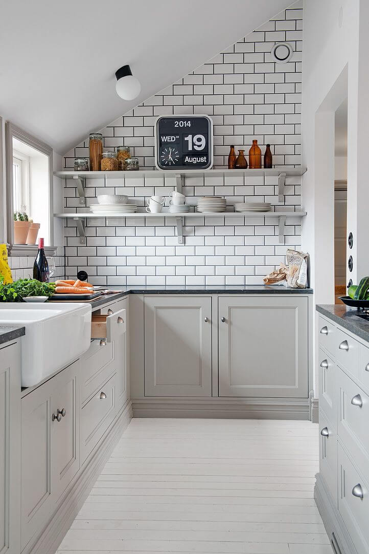 Grey Stained Cabinets with silver hardware