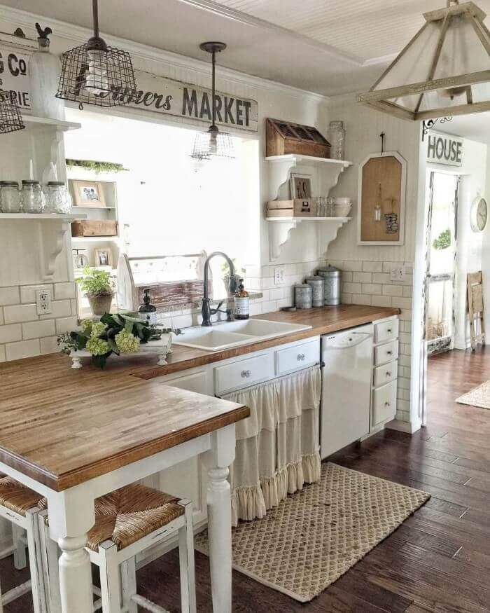 Open Kitchen Cabinet With Rustic Style