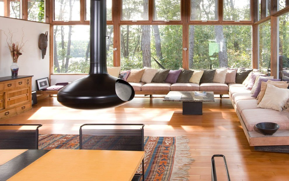 mid century modern living room lighting