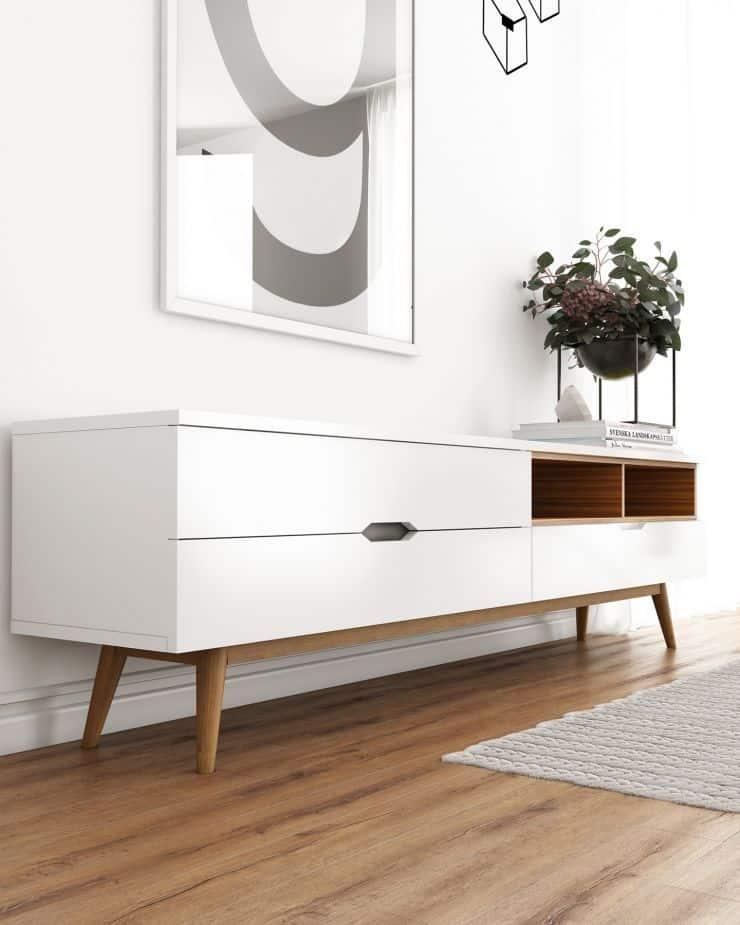 Mid Century Modern Tv Stand - White Tv Stand In Mid Century Modern Style