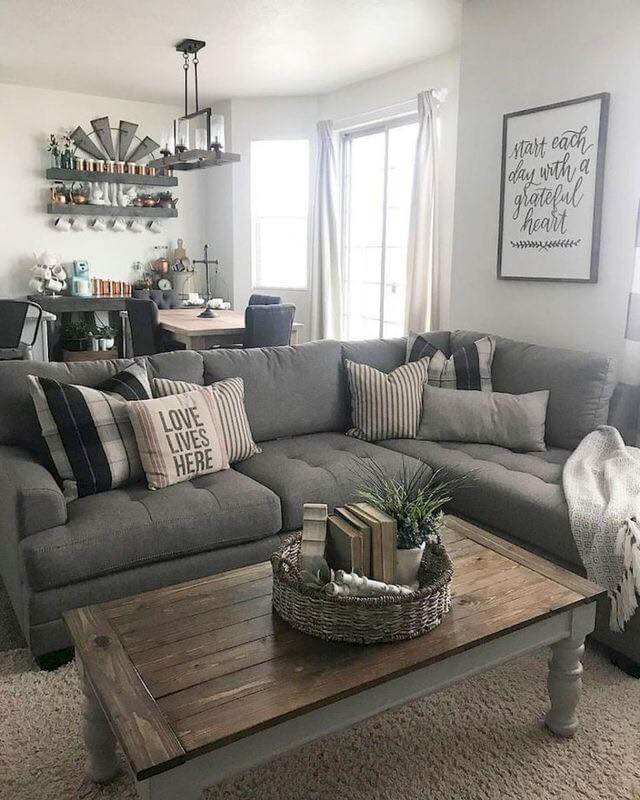 Grey Farmhouse Living Room. 23 Farmhouse Living Room Ideas to Try in 2019   Don Pedro