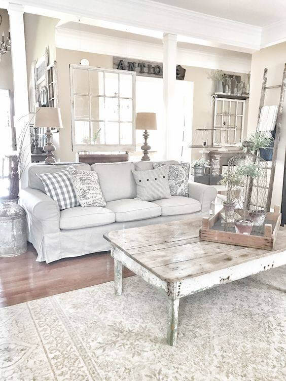 An All Washed White Farmhouse Living Room. 23 Farmhouse Living Room Ideas to Try in 2019   Don Pedro
