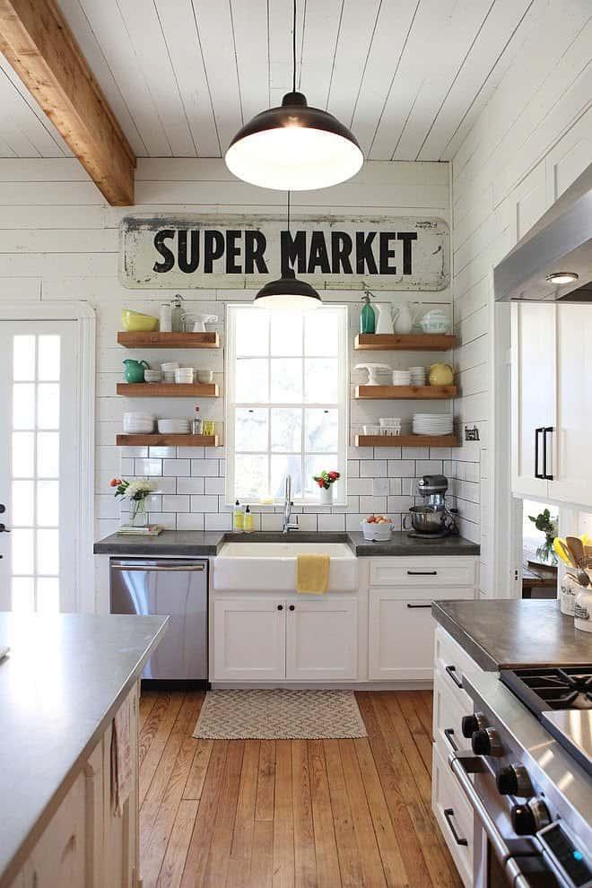 Open Kitchen Shelving Ideas - Farmhouse Style Kitchen Design 5