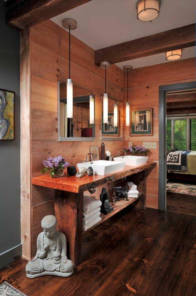 18 Refreshing Rustic Bathroom Design Ideas - Zen Atmosphere Rustic Bathroom