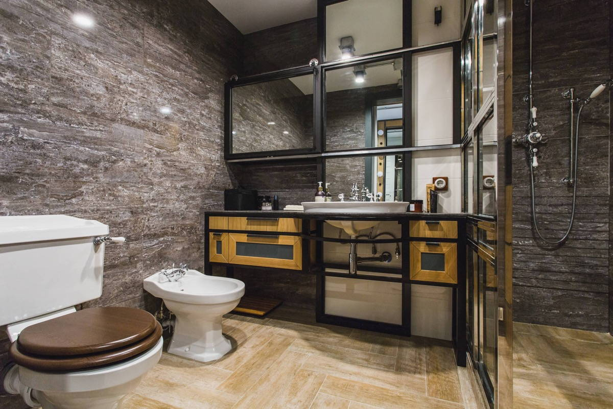 industrial themed bathroom