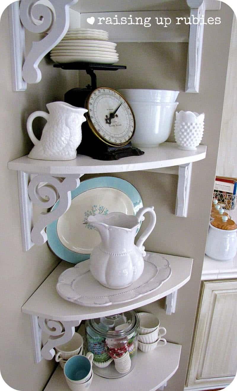 wooden corner shelf