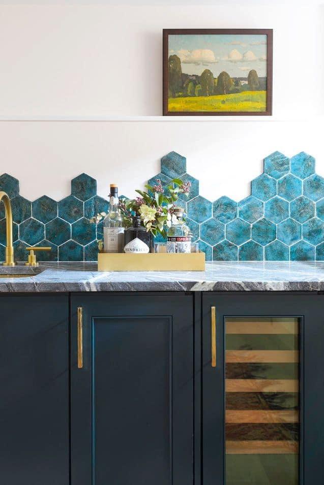 Patterned Hexagon Tile Backsplash