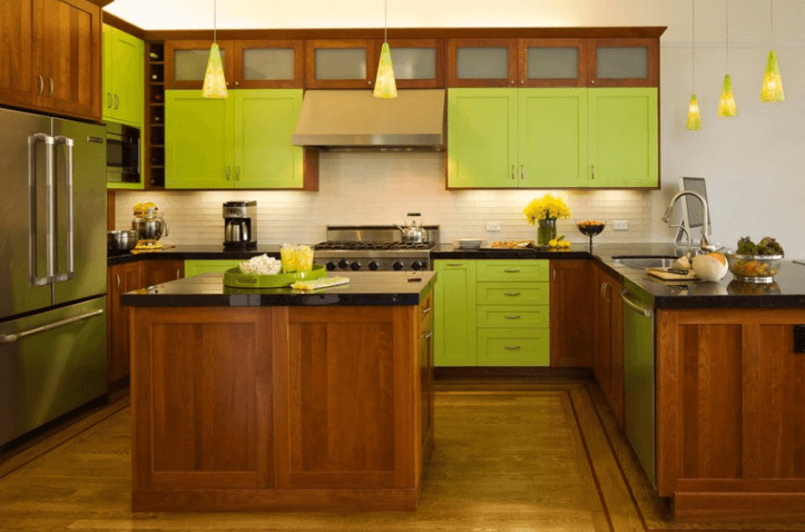 26 Gorgeous Green Kitchen Cabinet Ideas To Try In 2021 - Kitchen Design And Layout Ideas With Green Kitchen Cabinet 1
