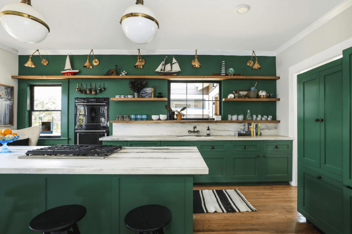 26 Gorgeous Green Kitchen Cabinet Ideas To Try In 2021 - Kitchen Design And Layout Ideas With Green Kitchen Cabinet 10