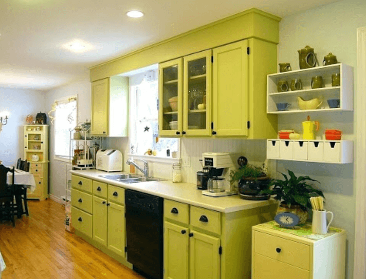 26 Gorgeous Green Kitchen Cabinet Ideas To Try In 2021 - Kitchen Design And Layout Ideas With Green Kitchen Cabinet 11