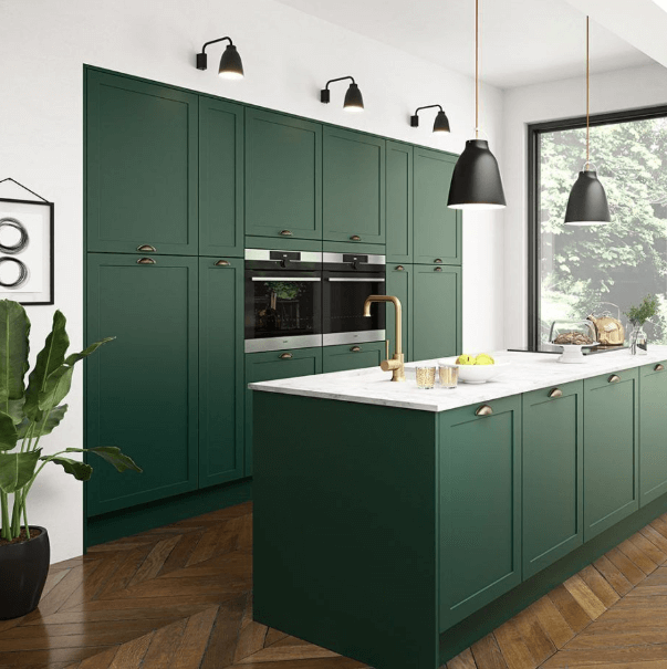 26 Gorgeous Green Kitchen Cabinet Ideas To Try In 2021 - Kitchen Design And Layout Ideas With Green Kitchen Cabinet 14