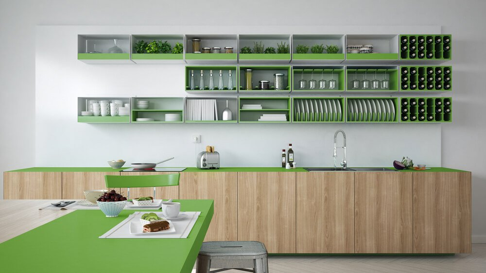 26 Gorgeous Green Kitchen Cabinet Ideas To Try In 2021 - Kitchen Design And Layout Ideas With Green Kitchen Cabinet 3