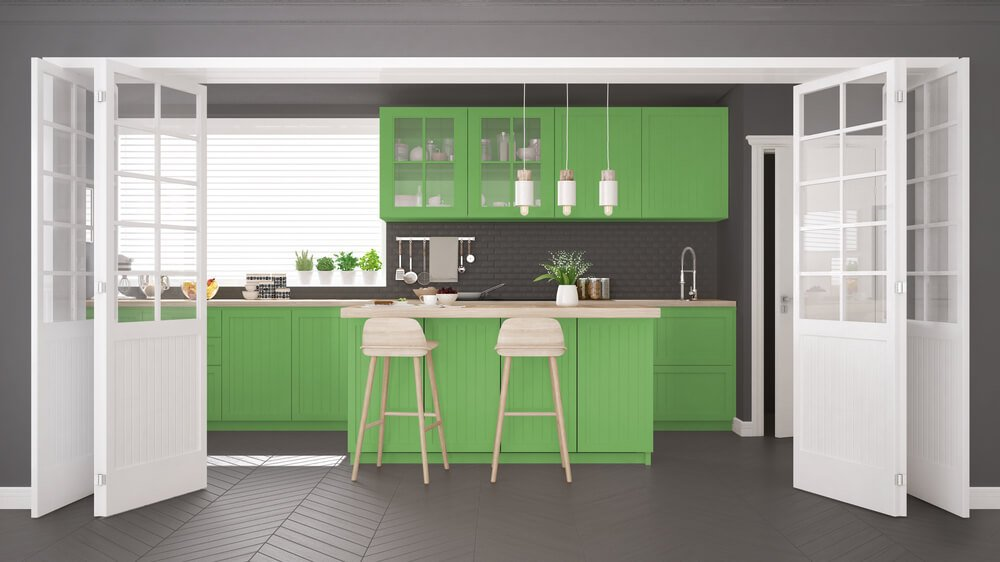 26 Gorgeous Green Kitchen Cabinet Ideas To Try In 2021 - Kitchen Design And Layout Ideas With Green Kitchen Cabinet 4