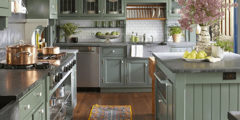 26 Gorgeous Green Kitchen Cabinet Ideas To Try In 2021 - Kitchen Design And Layout Ideas With Green Kitchen Cabinet 6