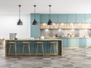 7 Most Durable Kitchen Flooring Options You Can Choose - Kitchen Design And Layout Ideas With Green Kitchen Cabinet 7