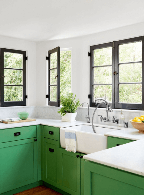 26 Gorgeous Green Kitchen Cabinet Ideas To Try In 2021 - Kitchen Design And Layout Ideas With Green Kitchen Cabinet 7