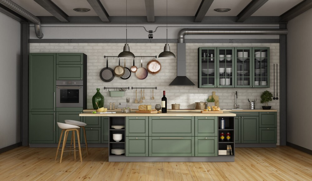 26 Gorgeous Green Kitchen Cabinet Ideas To Try In 2021 - Kitchen Design And Layout Ideas With Green Kitchen Cabinet 8