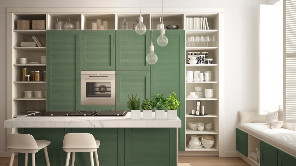 26 Gorgeous Green Kitchen Cabinet Ideas To Try In 2021 - Kitchen Design And Layout Ideas With Green Kitchen Cabinet 9