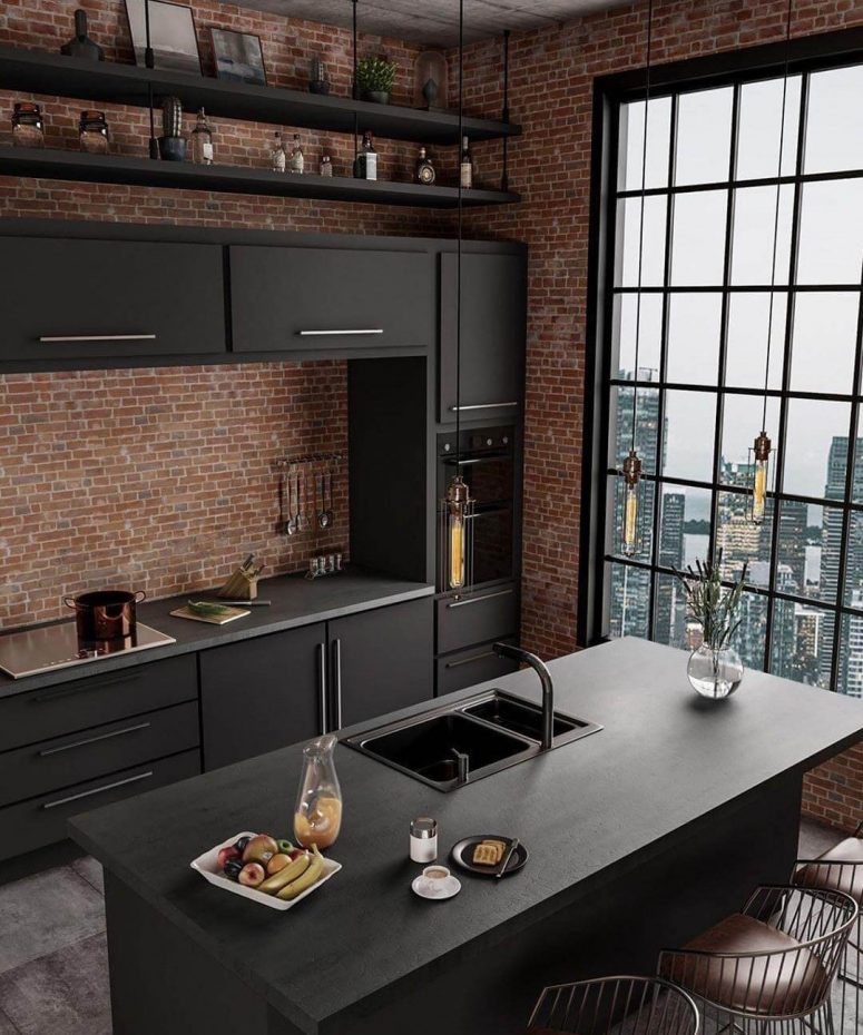 29 Beautiful Black Kitchen Cabinet Ideas To Try In 2021 - Black Kitchen Cabinet Ideas And Picture 25 E1609346374804