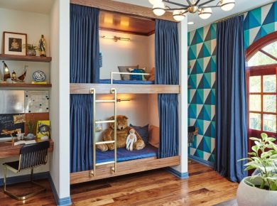 Bunk Bed Ideas - Eclectic Bunk Bed Blue And Gold From Sarah Barnard Design