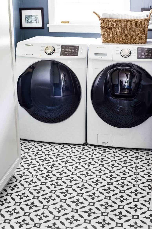 Patterned Vinyl Flooring for Laundry Room