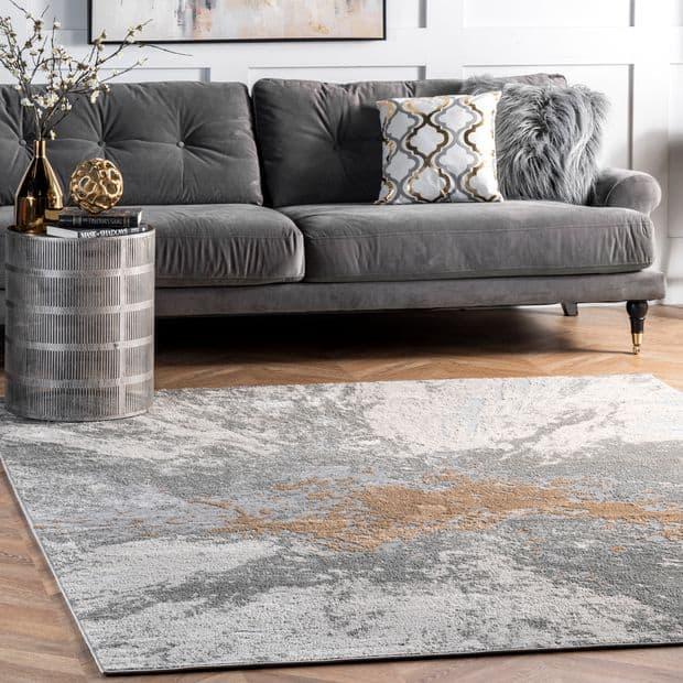 Silver Splatter Area Rug