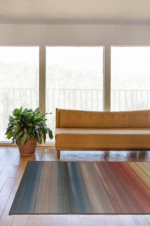 Linear Striped Multicolored Rug