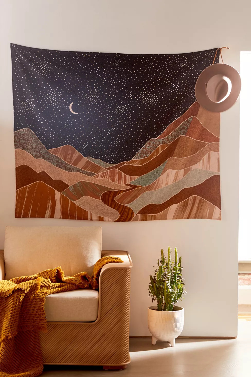Hang a Tapestry Behind Your Sofa