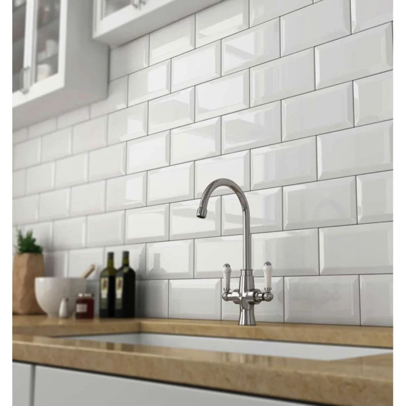 Go For a Clean Look With a White Ceramic Backsplash