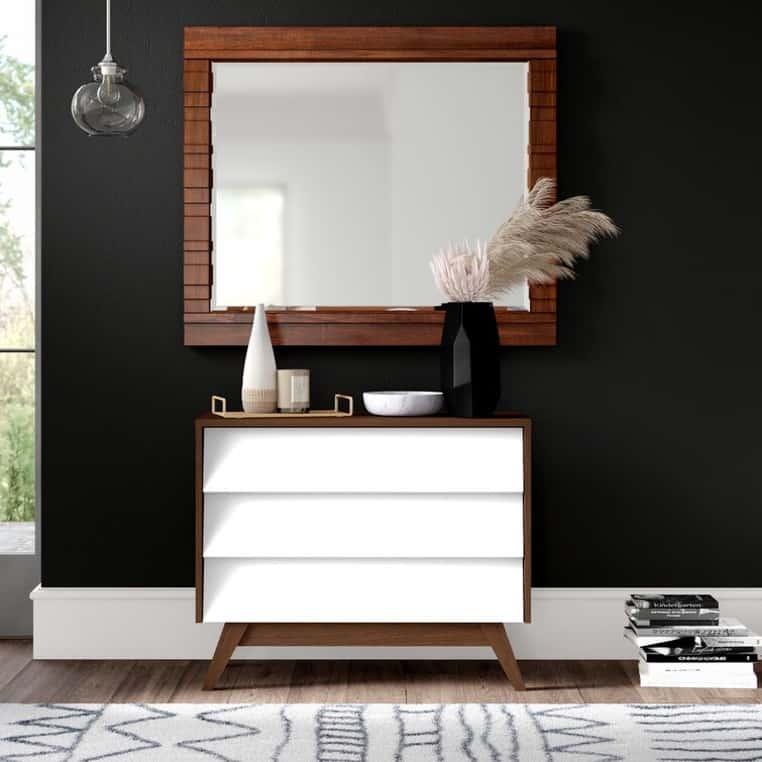 Ellenberger 3 Drawer White Mid Century Modern Dresser