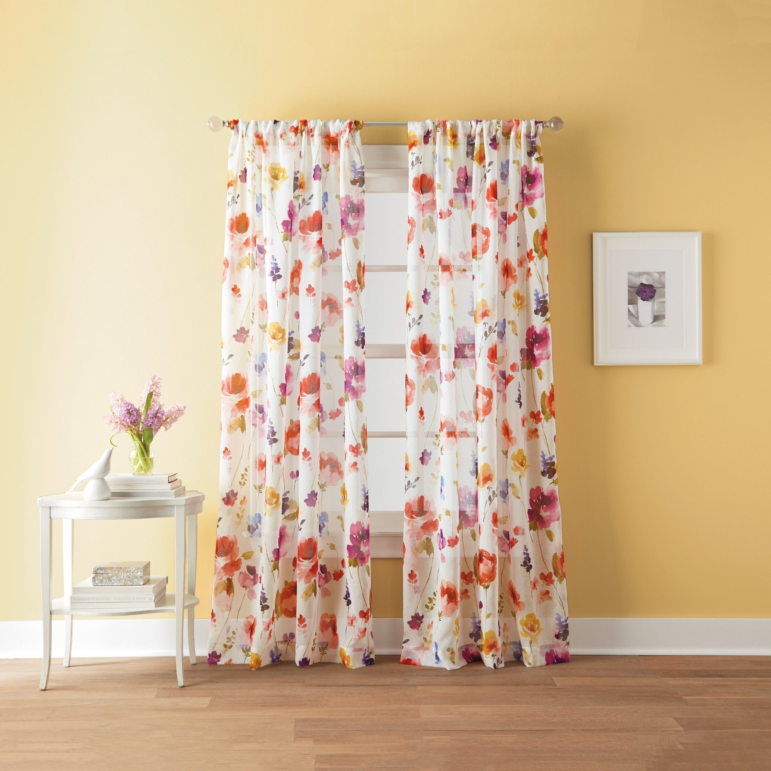 These Sheer Floral Curtains Are Made for Yellow Walls