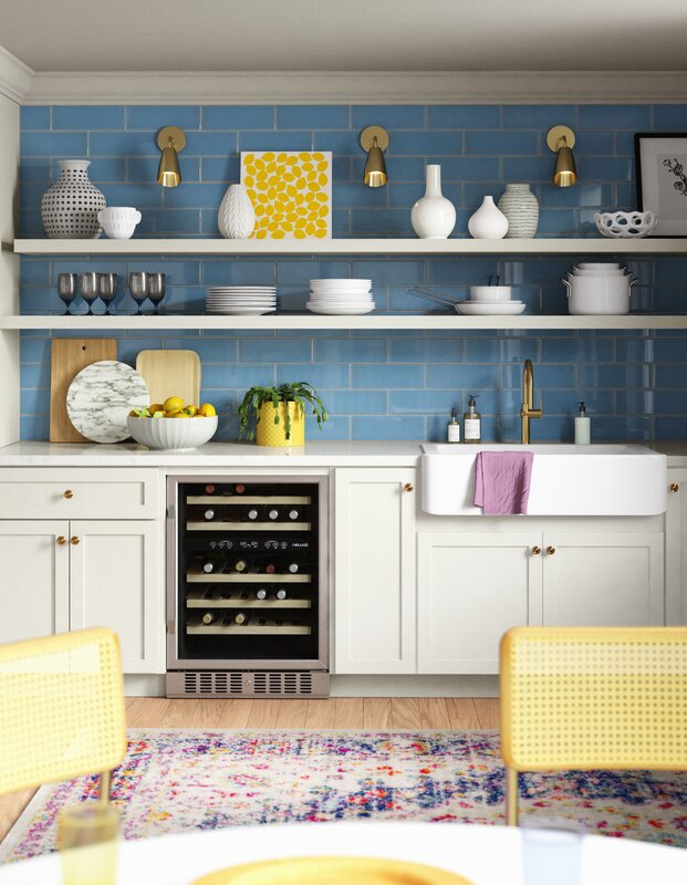 Contrasting Faded Kitchen Rug